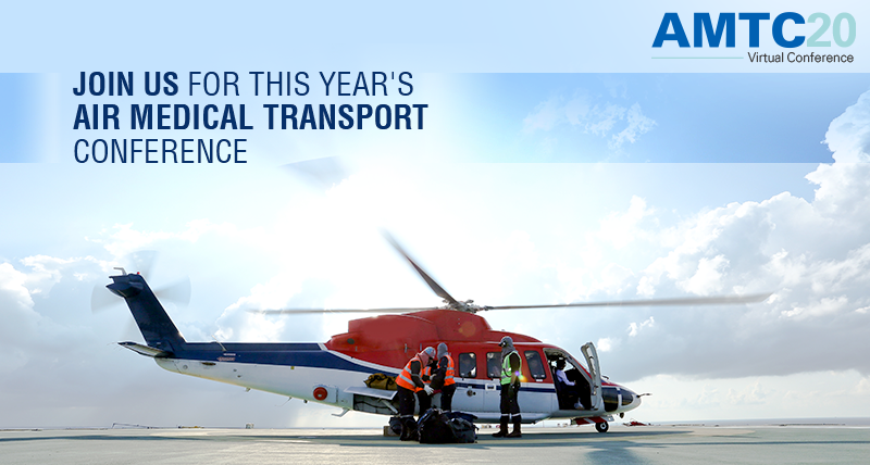 "Helicopter image and a message that reads ""Join us for this year's air medical transport conference""."