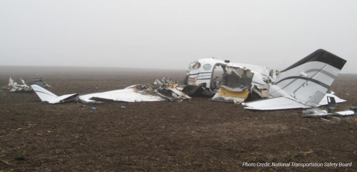 The site of the plane crash in a cornfield about 2 miles from the Central Illinois Regional Airport in Bloomington.